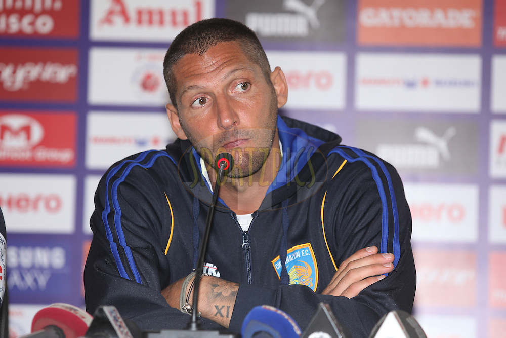 Chennai FC coach Marco Materazzi at PC during match 42 of the Hero Indian Super League between NorthEast United FC<br /> and Chennaiyin FC held at the Indira Gandhi Stadium, Guwahati, India on the 27th November 2014.<br /> <br /> Photo by:  Saikat Das/ ISL/ SPORTZPICS