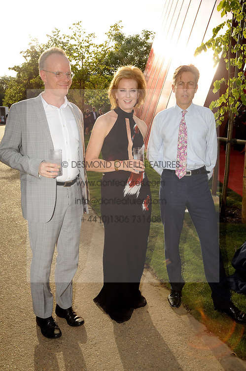 Left to right, HANS ULRICH OBRIST, JULIA PEYTON-JONES and BEN BRADSHAW MP at the annual Serpentine Gallery Summer party this year sponsored by Jaguar held at the Serpentine Gallery, Kensington Gardens, London on 8th July 2010.  2010 marks the 40th anniversary of the Serpentine Gallery and the 10th Pavilion.