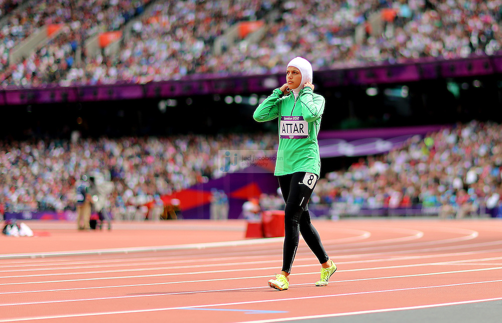 Sarah Attar of Saudi Arabia prepares to compete in an 800m heat during track and field at the Olympic Stadium during day 12 of the London Olympic Games in London, England, United Kingdom on August 8, 2012..(Jed Jacobsohn/for The New York Times)..