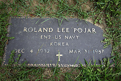 31 August 2017:   Veterans graves in Park Hill Cemetery in eastern McLean County.<br /> <br /> Roland Lee Pojar  Ensign 2  US Navy  Korea  Dec 4 1932  Mar 31 1987