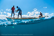 Fishermen work their nets to catch fish for food along the coastline of Likoma Island, Lake Malawi, Malawi, Africa. Fishing pressure has drastically diminished stocks of endemic cichlids and catfish that exist nowhere else on earth.