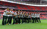 The Mexico team celebrate with there Gold Medals London 2012 Olympics<br />Brazil V Mexico (Men's Gold Medal match) (0-2) 11/08/12 <br />London 2012 Olympics Football Final at Wembley Stadium<br />Photo: Robin Parker Fotosports International