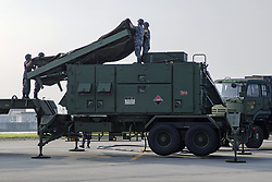 August 29, 2017 - Iwakuni, Yamaguchi, Japan - Soldiers with the Japanese Air Self-Defense 2nd Air Defense Missile Group, set up a AN/MPQ-65 radar set during Patriot Missile deployment training at MCAS Iwakuni in Iwakuni, Yamaguchi, Japan. The deployment follows the launch of a North Korean ballistic missile test that flew over Japan on August 28th. (Credit Image: © Aaron Henson/Planet Pix via ZUMA Wire)
