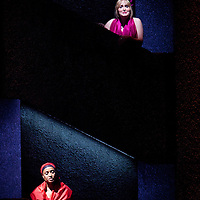 Picture shows :  Glasgow Girls Dress Rehearsal...Picture © Drew Farrell. Tel 07721-735041...Dawn Sievewright (top).Amaka Okafor..National Theatre of Scotland, Theatre Royal Stratford East, Citizens Theatre, Pachamama Productions, Richard Jordan Productions Ltd in association with Merrigong Theatre Company (Australia) present..WORLD PREMIERE of Glasgow Girls opens 31 October 2012 at the Citizens Theatre, Glasgow.Inspired by a true story.Conceived for the stage and directed by Cora Bissett. Book by David Greig.Music and Lyrics by Cora Bissett, Sumati Bhardwaj (MC Soom T), Patricia Panther and John Kielty.  Set Design by Merle Hensel, Musical Direction by Hilary Brooks, Choreography by Natasha Gilmore, Lighting Design by Lizzie Powell and Sound Design by Fergus O'Hare..The full cast is: Callum Cuthbertson, Ameira Darwish, Roanna Davidson, Stephanie McGregor, Myra McFadyen, Amaka Okafor, Patricia Panther, Dawn Sievewright and Frances Thorburn. ..Based on the true story of one of the most vocal and powerful asylum campaigns to catch the imagination of the media and inspire a community to unite behind its residents, Glasgow Girls is a brand new life-affirming Scottish musical with seven strong female leads and a vibrant multi-cultural voice at its heart. The musical promises to be a celebration of Glasgow and the power of teenagers with a cause.??The Glasgow Girls are a group of seven young women who have highlighted the poor treatment of failed asylum seekers. The group of girls from Drumchapel High School protested against the detention of one of their friends, Agnesa Murselaj, who had fled from war-torn Kosovo. Publicity grew as the girls challenged the First Minister and publicly voiced their concerns as more children at their school were dawn raided, detained and deported. Two BBC television documentaries have been made of their story. .Press contacts:..Clare McCormack, Press Officer.Tel: +44 (0)141 227 9497/ +44 (0)7989 950871    E: clare.mccormack@nationaltheatresc