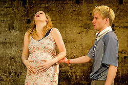 © Licensed to London News Pictures. 12/03/2012. London, UK. Southwark Playhouse presents the world premier of Philip Ridley's Shivered, directed by Russell Bolam. Picture shows Joseph Drake as Ryan and Olivia Poulet as Lyn. Photo credit : Tony Nandi/LNP