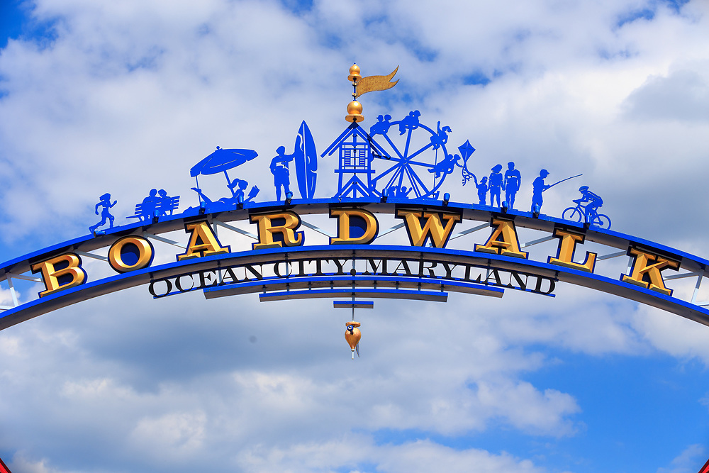 Ocean City, MD - July 10, 2016: An archway sign on the boardwalk in Ocean City, Maryland.