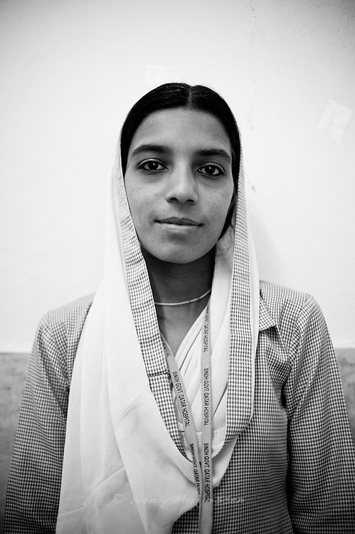 Naseem Ramzan, 17 years old. Her sister and cousins are midwifes themselves so it's a natural choice for her to become a midwife too. She wants to become a good midwife and help reduce the problems for mothers.