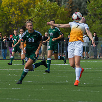 3rd year forward Brianna Wright (7) of the Regina Cougars controls the ball with her chest during the Women's Soccer Homeopener on September 10 at U of R Field. Credit: Arthur Ward/Arthur Images