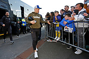 Leeds United midfielder Ezgjan Alioski (10) arriving at the ground during the EFL Sky Bet Championship match between Preston North End and Leeds United at Deepdale, Preston, England on 9 April 2019.