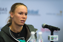October 21, 2018 - Kallang, SINGAPORE - Caroline Wozniacki of Denmark talks to the media after losing her first match at the 2018 WTA Finals tennis tournament (Credit Image: © AFP7 via ZUMA Wire)