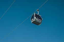 THEMENBILD - eine Gondel der MK Maiskogelbahn vor blauem Himmel, aufgenommen am 27. Februar 2020 in Kaprun, Oesterreich // a gondola of the MK Maiskogelbahn in front of a blue sky, in Kaprun, Austria on 2020/02/27. EXPA Pictures © 2020, PhotoCredit: EXPA/Stefanie Oberhauser