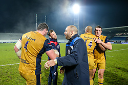 James Phillips and Rob Hawkins celebrate after Bristol Rugby win the game 18-28 - Rogan Thomson/JMP - 16/12/2016 - RUGBY UNION - Stade du Hameau - Pau, France - Pau v Bristol Rugby - EPCR Challenge Cup.