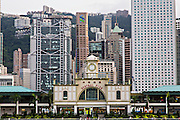 Star Ferry Central Pier with HSBC Building Central District Hong Kong.