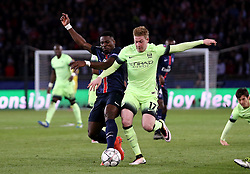 Kevin De Bruyne of Manchester City is tackled by Serge Aurier of Paris Saint-Germain - Mandatory by-line: Robbie Stephenson/JMP - 06/04/2016 - FOOTBALL - Parc des Princes - Paris,  - Paris Saint-Germain v Manchester City - UEFA Champions League Quarter Finals First Leg