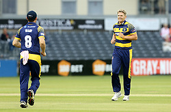 Timm Van Der Gugten of Glamorgan celebrates with Graham Wagg of Glamorgan after the pair combine to take the wicket of Michael Klinger of Gloucestershire  - Mandatory by-line: Robbie Stephenson/JMP - 10/06/2016 - CRICKET - Brightside Ground - Bristol, United Kingdom - Gloucestershire v Glamorgan - NatWest T20 Blast