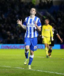 Jamie Murphy of Brighton and Hove Albion celebrates after he scores to make it 3-0 - Mandatory byline: Paul Terry/JMP - 05/02/2016 - FOOTBALL - Falmer Stadium - Brighton, England - Brighton v Brentford - Sky Bet Championship