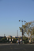 Bridge on River Seine with Eiffel Tower in background, Paris, France<br />