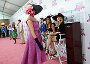 Stefanie Graf, right, tennis legend and Longines Ambassador of Elegance, helps judge the Longines Kentucky Oaks Day Fashion Contest, Friday, May 5, 2017, in Louisville, KY. Longines, the Swiss watch manufacturer known for its luxury timepieces, is the Official Watch and Timekeeper of the 143rd annual Kentucky Derby. (Photo by Diane Bondareff/AP Images for Longines)