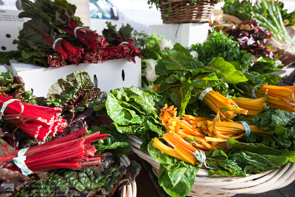 Displays of Swiss Chard at the San Francisco Farmers Market  near the Ferry Building in San Francisco, California
