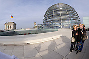 Berlin, Germany. Reichstag. Reichstagskuppel (dome) by Sir Norman Foster. Visitors taking a selfie.