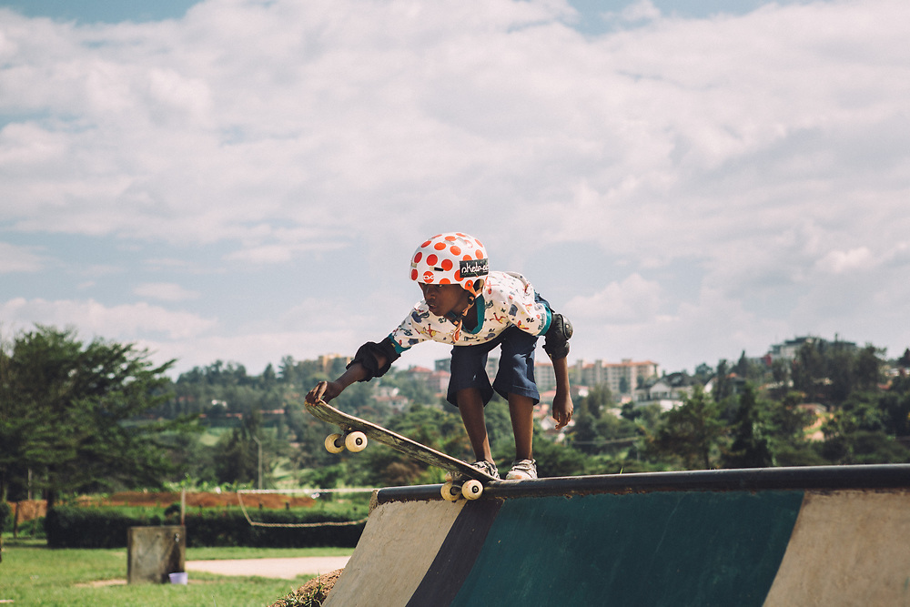 Moses, one of the young skateboarders.