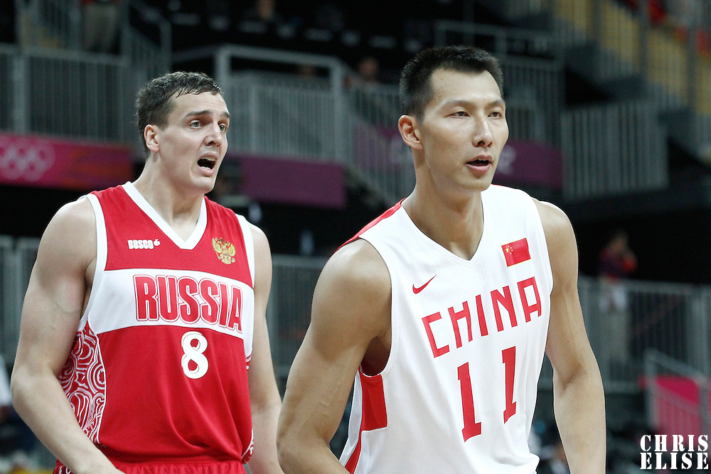 31 July 2012: China Jianlin Yi is seen during the 73-54 Russia victory over China, during the men's basketball preliminary, at the Basketball Arena, in London, Great Britain.