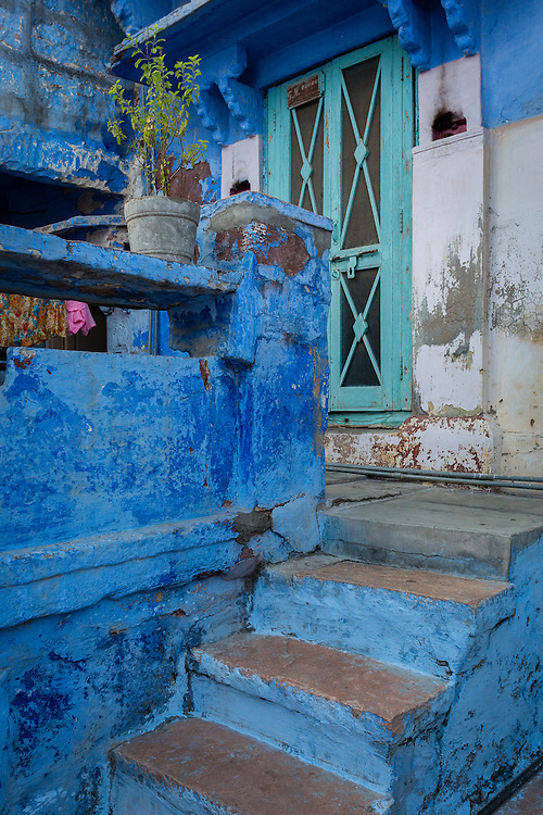 The entrance to a house in Jodhpur. In the old part of Jodhpur most housed are painted in a color which became know as Brahmin Blue