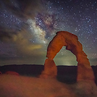 Milky Way over Delicate Arch, Arches National Park, Utah.