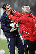 CAPE TOWN, SOUTH AFRICA - 13 JUNE 2010, Italian goalkeeper Gianluigi Buffon and Italian coach Marcello Lippi joke around during Italy's training session held at the Cape Town Stadium. Italy play Paraguay in Match 11 of the 2010 FIFA World Cup on Monday 14 June 2010. Photo by: Shaun Roy/Sportzpics