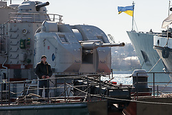 Ukrainian sailors parade on the warship in Sevastopol bay, Ukraine , Thursday, 13th March 2014. Picture by Daniel Leal-Olivas / i-Images