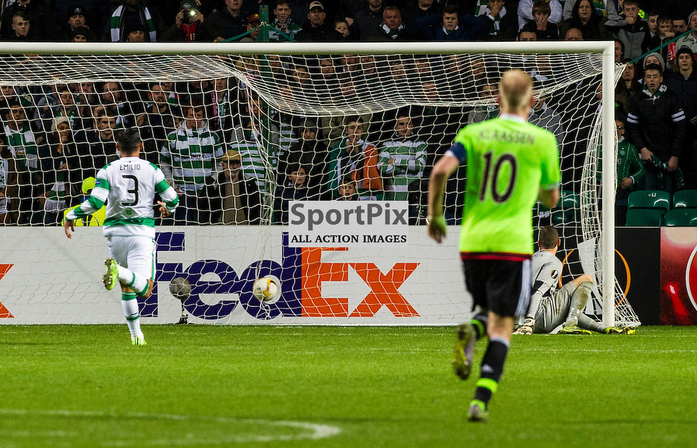 Craig Gordon looks back in despair as the second goal goes in<br /> <br /> as Celtic host Ajax at Parkhead in the Europa League.<br /> &copy; Ger Harley/ SportPix.org.uk 26 November 2015