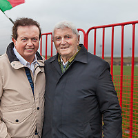 Marty Morrissey, with veteran Kilmurry Ibreckane stalworth, 87 year old Jimmy Joe Sexton, also from Quilty, during the Kilmurry Ibrickane GAA Club Centenary Closing Ceremony.<br /> Jimmy Joe was the captain of the 1952 Kilmurry Ibreckane Senior Football Team