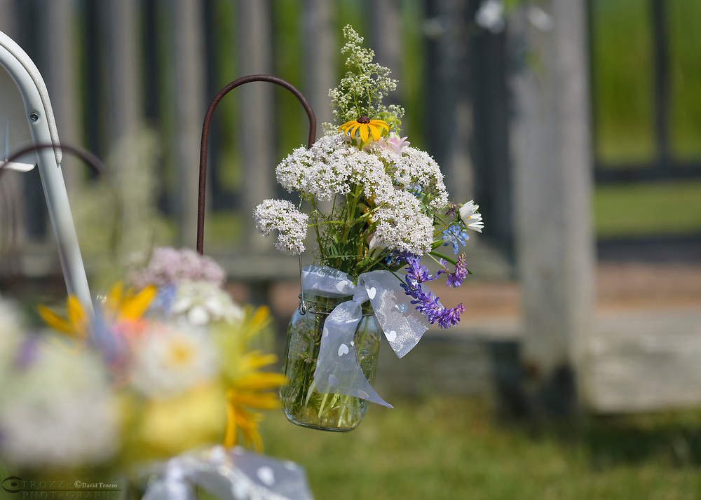 Bouquet of wildflowers, hung as decoration.