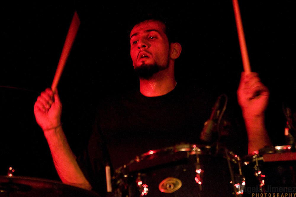 Date: 2/23/10.Desk: CUL.Slug: METAL/ARTS.Assign Id: 30092837A..Drummer Marwan Reyad performs with the Iraqi metal band Acrassicauda at the Europa club in Brooklyn on February 23, 2010. ..Photo by Angela Jimenez for The New York Times .photographer contact 917-586-0916