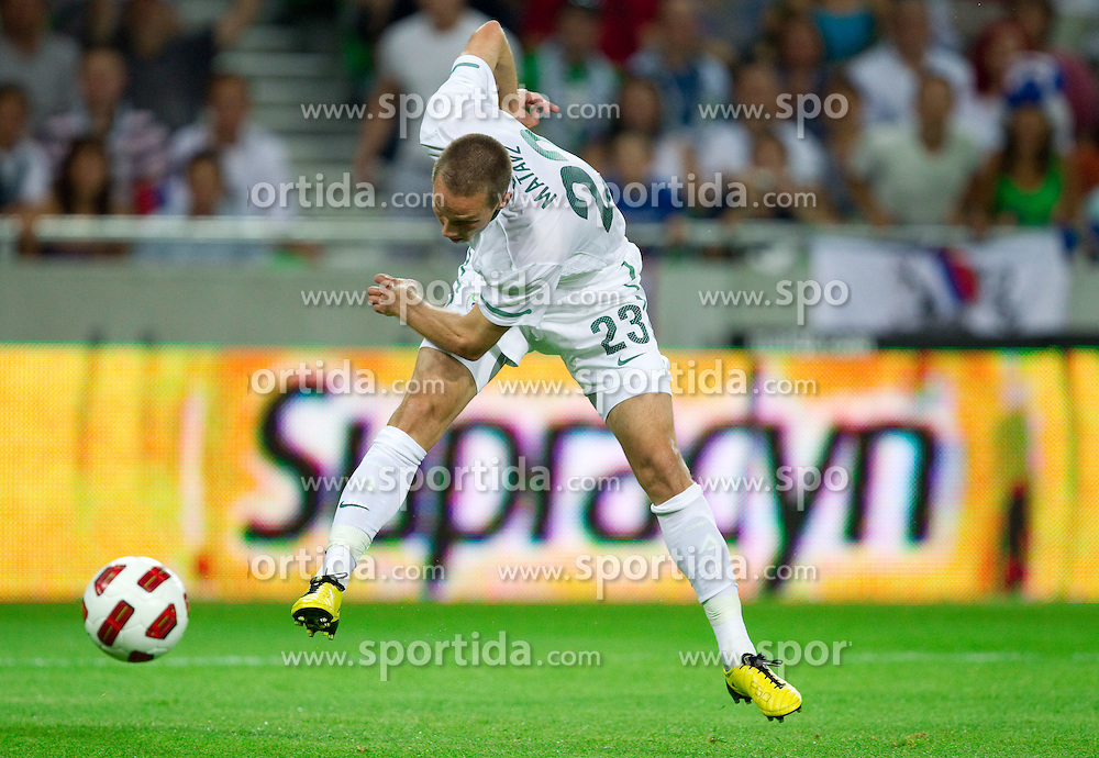 Tim Matavz of Slovenia during the opening friendly football match at a new stadium in Stozice between National teams of Slovenia and Australia on August 11, 2010 in Ljubljana. Slovenia defeated Australia 2-0. (Photo by Vid Ponikvar / Sportida)