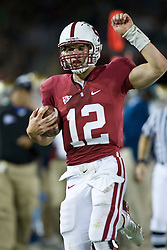 November 28, 2009; Stanford, CA, USA;  Stanford Cardinal quarterback Andrew Luck (12) during the third quarter against the Notre Dame Fighting Irish at Stanford Stadium.  Stanford defeated Notre Dame 45-38.