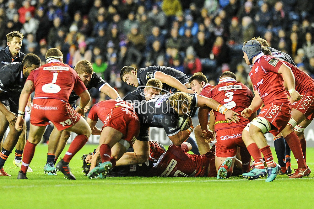 Pierre Schoeman forces his way over the line to score try during the Guinness Pro 14 2018_19 match between Edinburgh Rugby and Scarlets at BT Murrayfield Stadium, Edinburgh, Scotland on 2 November 2018.