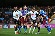 Calvin Andrew, Ollie Lancashire, Jack King during the Sky Bet League 1 match between Scunthorpe United and Rochdale at Glanford Park, Scunthorpe, England on 28 December 2015. Photo by Daniel Youngs.