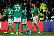 Sheffield Wednesday forward Steven Fletcher (9) celebrates with his team mates after scoring during the EFL Sky Bet Championship match between Derby County and Sheffield Wednesday at the Pride Park, Derby, England on 11 December 2019.