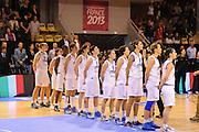 Vannes 16 Giugno 2013 <br /> Eurobasket Women 2013<br /> Italia - Spagna <br /> Nella foto: team italia<br /> Foto Ciamillo