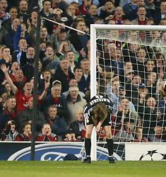 MANCHESTER, ENGLAND - Wednesday, April 23, 2003: Real Madrid's Steve McManaman rues his miss against Manchester United during the UEFA Champions League Quarter Final 2nd Leg match at Old Trafford. (Pic by David Rawcliffe/Propaganda)