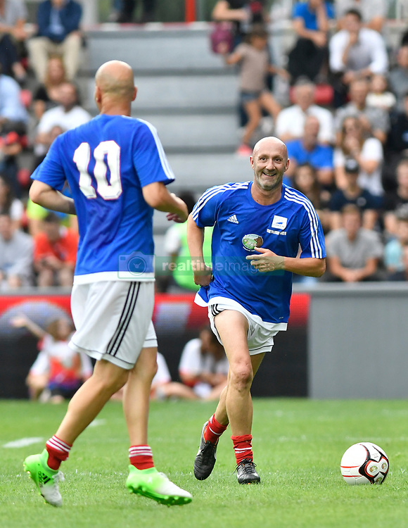 Fabien Barthez and Zinedine Zidane during the France 98 V Stade Toulousain match at the Ernest Wallon stadium in Toulouse, France, on July 10, 2017. Photo by Pascal Rondeau/ABACAPRESS.COM
