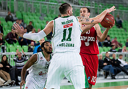 Yotam Halperin of Hapoel vs Stevan Milosevic #11 of KK Union Olimpija during basketball match between KK Union Olimpija Ljubljana (SLO) and Hapoel Jerusalem (ISR) in Round #4 of 7Days EuroCup 2016/17, on October 26, 2016 in Arena Stozice, Ljubljana, Slovenia. Photo by Vid Ponikvar / Sportida