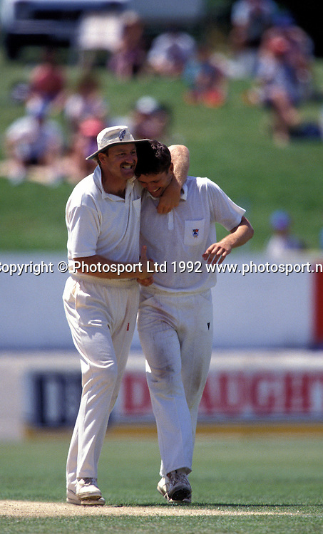 Mark Greatbatch and Justin Vaughan, v England, Nelson 1992. cricket. Nelson. 1992. Photo: PHOTOSPORT