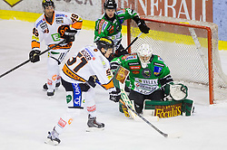 19.01.2014, Hala Tivoli, Ljubljana, SLO, EBEL, HDD Telemach Olimpija Ljubljana vs Moser Medical Graz 99ers, 2. Plazierungsrunde, in picture  Jerry Kuhn (HDD Telemach Olimpija) and Daniel Woger (Graz 99ers)  during the Erste Bank Icehockey League 2nd Placing round  between HDD Telemach Olimpija Ljubljana and Moser Medical Graz 99ers at the Hala Tivoli, Ljubljana, Slovenia on 2014/01/19. Photo by Vid Ponikvar / Sportida