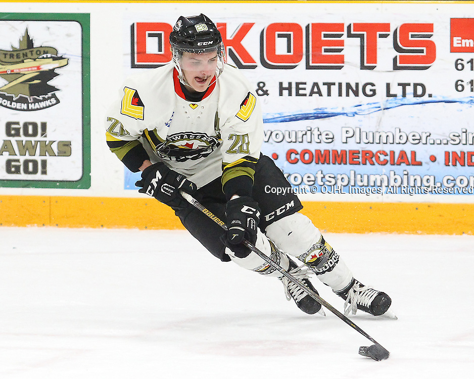 TRENTON, ON  - MAY 3,  2017: Canadian Junior Hockey League, Central Canadian Jr. &quot;A&quot; Championship. The Dudley Hewitt Cup Game 3 between Dryden GM Icedogs and Powassan Voodoos.    Dayton Murray #20 of the Powassan Voodoos skates with the puck during the first period<br /> (Photo by Alex D'Addese / OJHL Images)