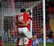 Charlton Athletic striker Reza Ghoochannejhad celebrating scoring Charltons third goal to take the score to 3-0 during the Sky Bet Championship match between Charlton Athletic and Sheffield Wednesday at The Valley, London, England on 7 November 2015. Photo by Matthew Redman.