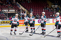 KELOWNA, CANADA - JANUARY 16:  Kaedan Korczak #6, Mark Liwiski #9, Conner Bruggen-Cate #20, Alex Swetlikoff #17 and Schael Higson #21 of the Kelowna Rockets line up on the blue line at the start of the game against the Moose Jaw Warriors on January 16, 2019 at Prospera Place in Kelowna, British Columbia, Canada.  (Photo by Marissa Baecker/Shoot the Breeze)