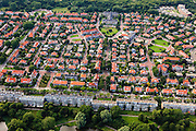 Nederland, Zuid-Holland, Den Haag, 15-07-2012; Sportlaan met flats uit de wederopbouw periode. Boven in beeld de Vogelwijk, de Patrijslaan richting Fazantplein..Aan weerszijden van de Sportlaan de 'Atlantikwall strook'. In dit gebied is tijdens de Tweede Wereldoorlog de bevolking geëvacueerd en de bebouwing ontruimd en/of gesloopt ivm aanleg tankgracht. .On both sides of the Sportlaan the Atlantic Wall strip. During the Second World War, the population of this area was evacuated and some of the buildings were demolished in order to build a antitank ditch. Post-war reconstruction appartment buildings...QQQ.luchtfoto (toeslag), aerial photo (additional fee required).foto/photo Siebe Swart