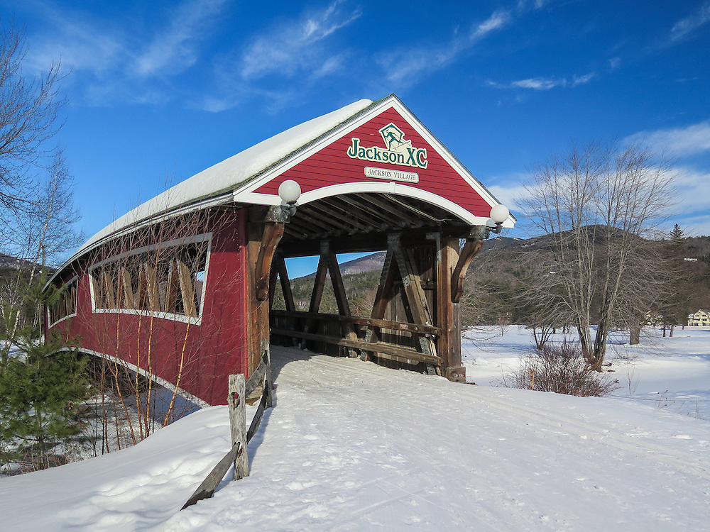Jackson Covered Bridge in Jackson, NH on a snowy winter day